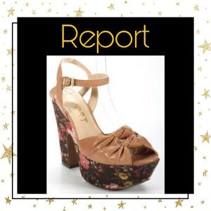 Report Tan Leather Floral Printed Sandals 6.5